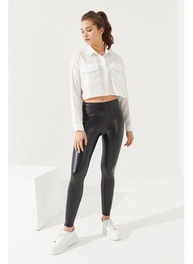 Reyon REYON Kadın Uzun Kol Crop Gömlek Beyaz Beyaz